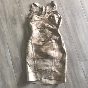 Herve Leger gold foil bandage mini dress XS